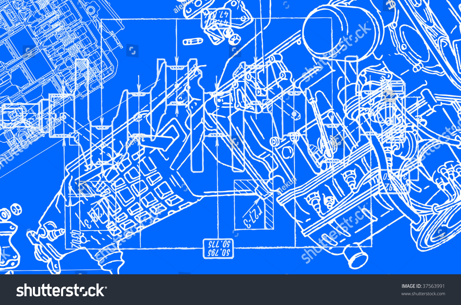 Technical Drawing Background 2 Stock Vector Illustration