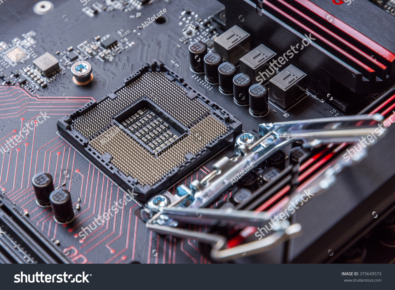 Computer Mainboard Electronic Printed Circuit Board Chemicon Cpu Stock Photos Images Pictures Shutterstock Id 375649573