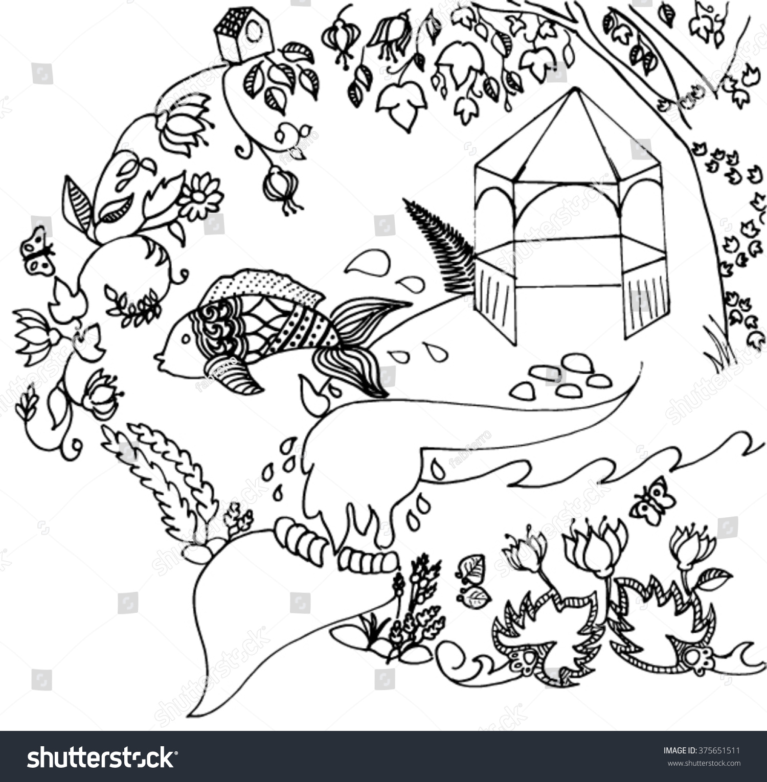 coloring page park garden pond stock vector 375651511