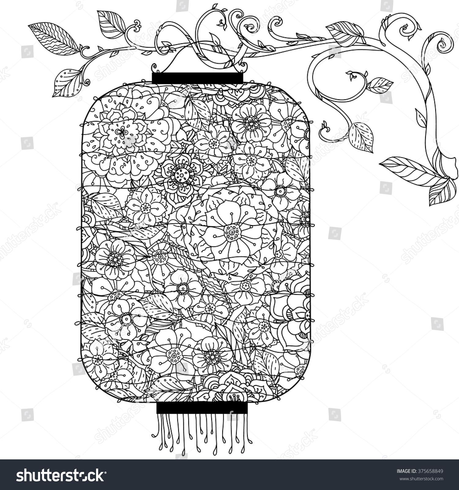 Chinese Lantern Hand Drawing Zentangle Interpretation Black And White Vector Illustration The