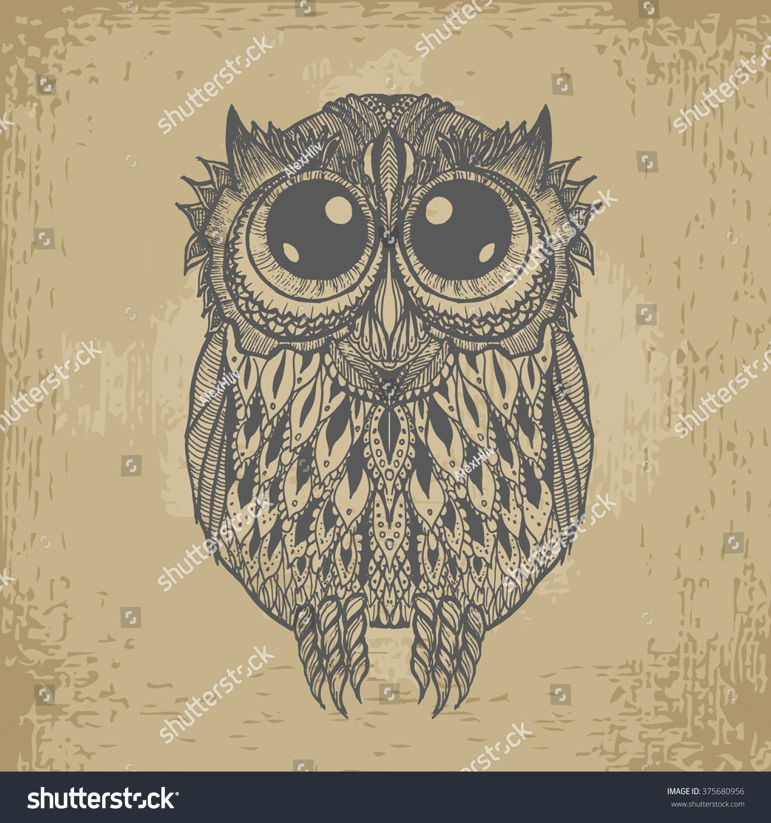 hand drawing funny owl big eyes stock vector 375680956 shutterstock
