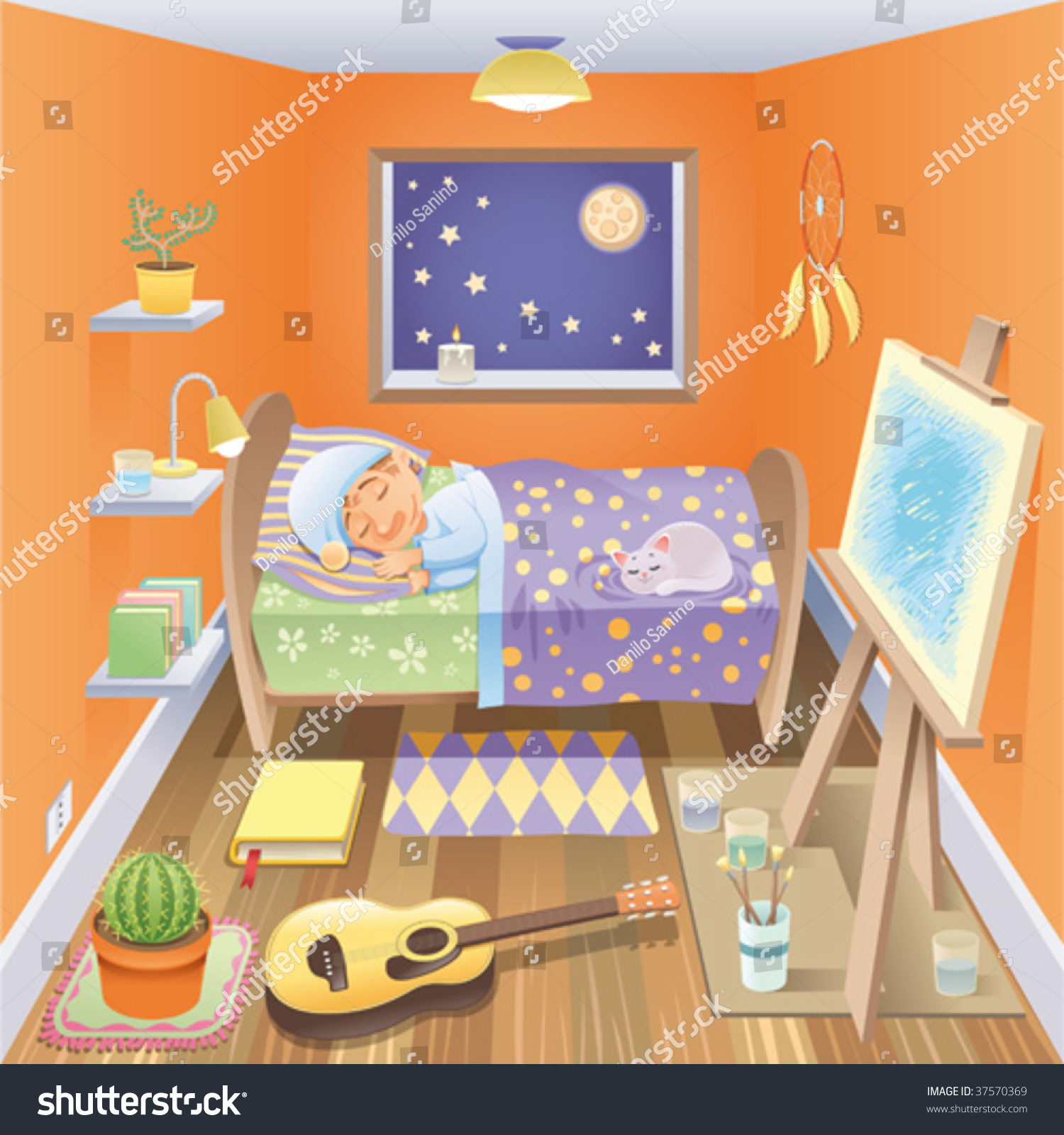 Boy sleeping his bedroom funny cartoon stock vector Funny bedroom