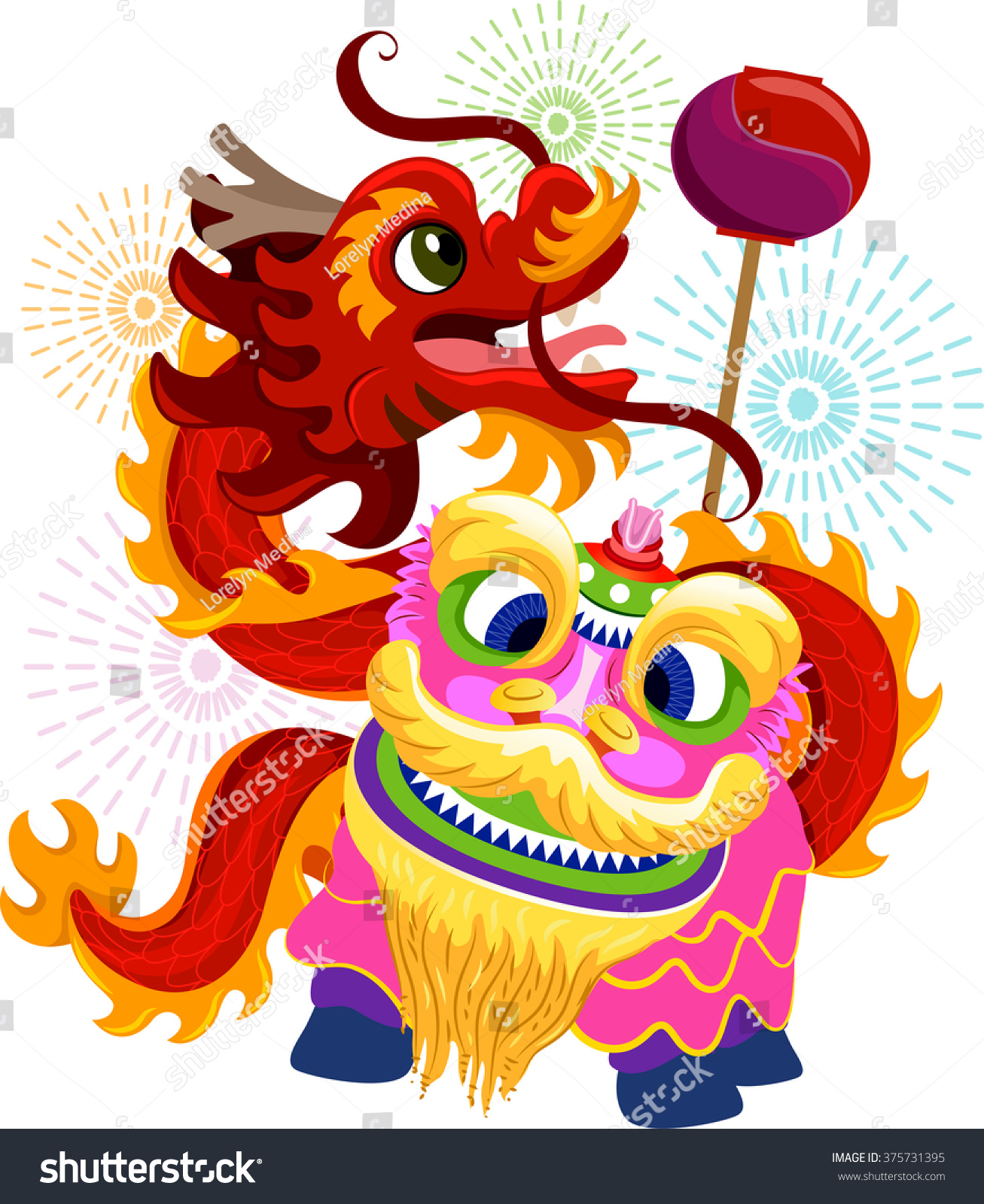 illustration lion dragon dance costumes chinese stock vector