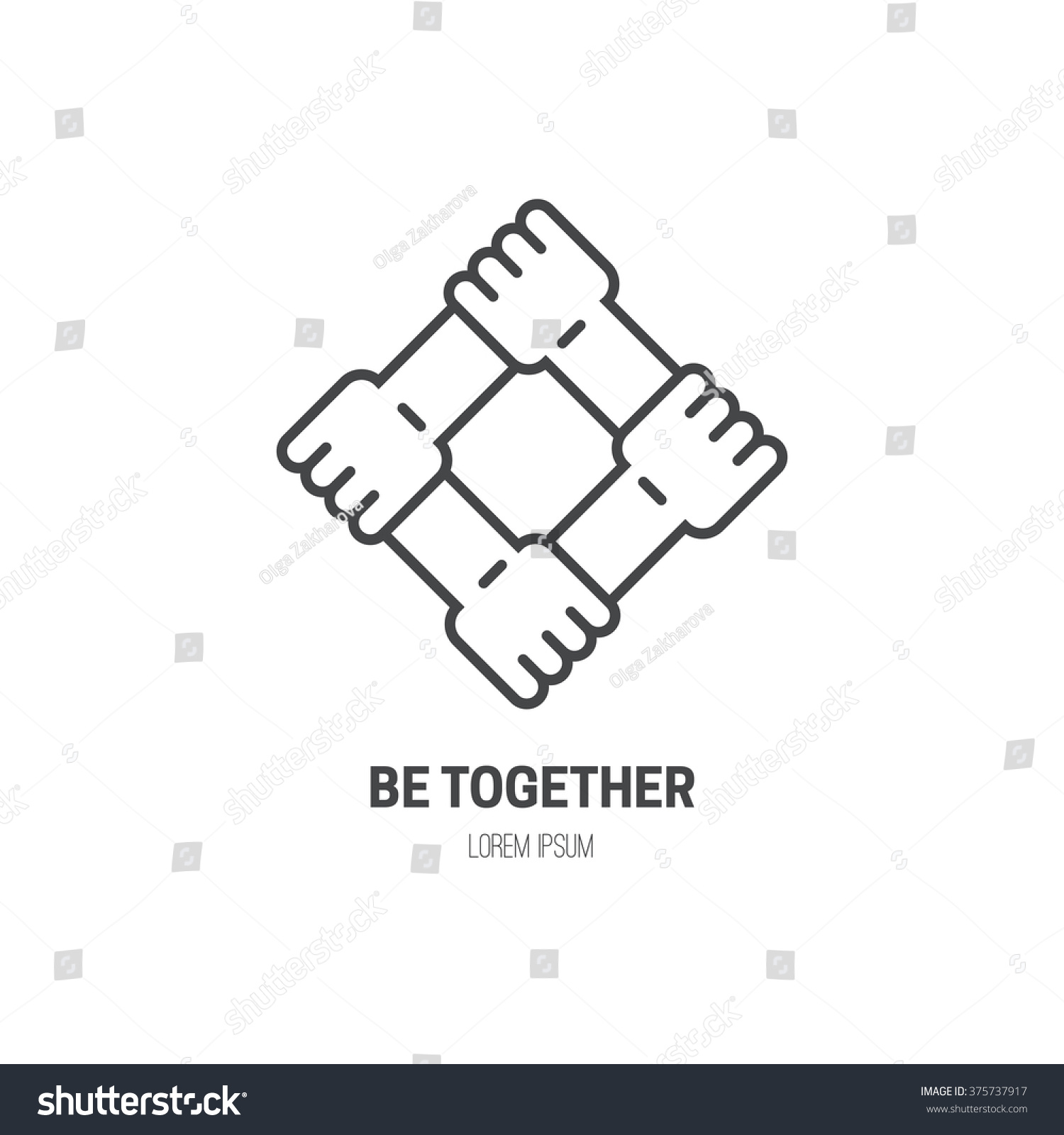 Four connected hands symbol togetherness vector stock vector four connected hands symbol for togetherness vector line style label for non profit buycottarizona