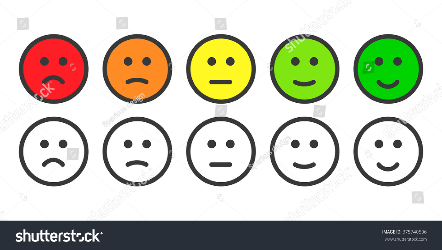 Emoji icons face icon emoticons rate stock illustration 375740506 emoji icons face icon emoticons for rate customer satisfaction level five grade smileys biocorpaavc Images
