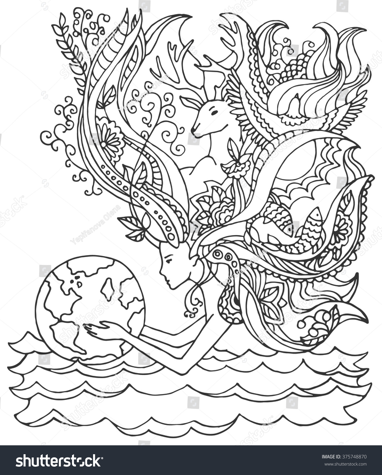 Earth day coloring pages for adults - Concept Of Happy Earth Day April 22 Ecology Human Holding Earth Woman