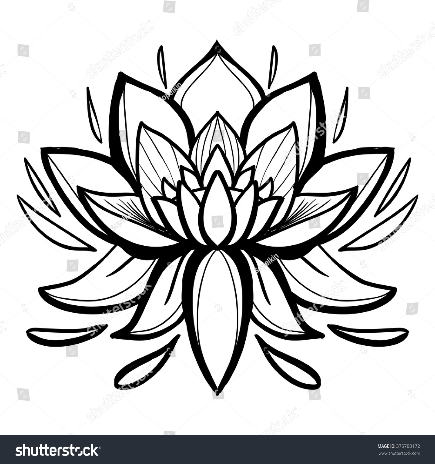 Traditional Indian Symbols Lotus Flower Element Stock Vector Shut