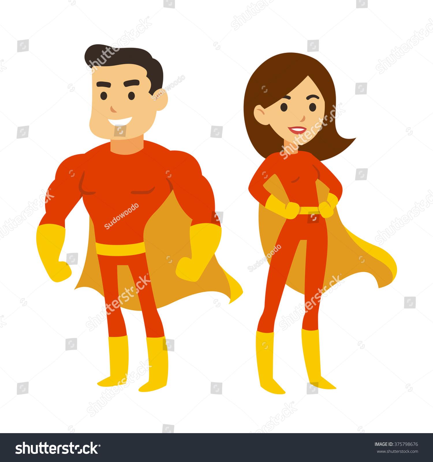 Cartoon Superhero Couple Man Woman Red Stock Vector 375798676 ...