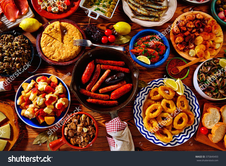 Spanish Tortilla Tapas Spain Varied Mix...