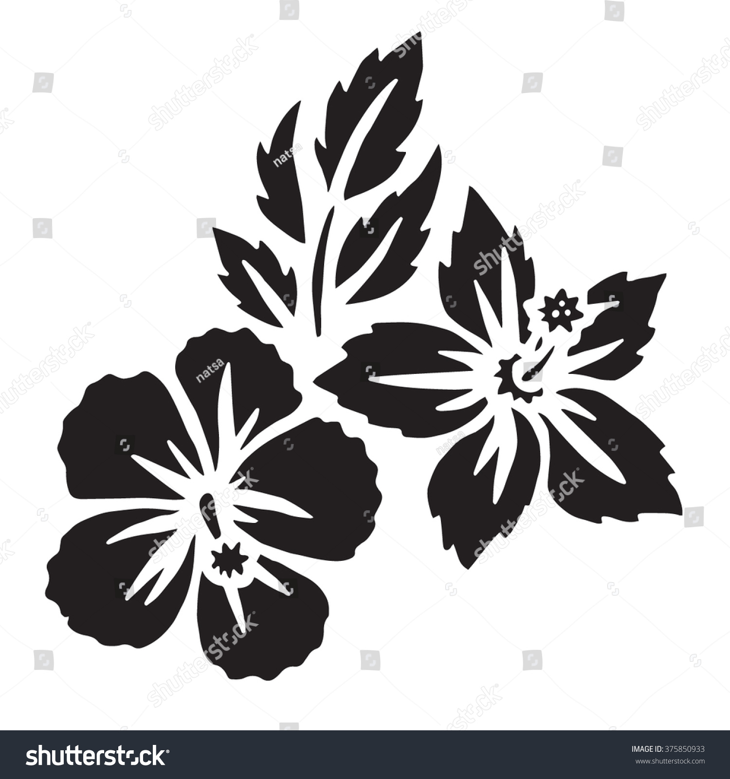 Hibiscus flower set surfing tropical symbol stock vector royalty hibiscus flower set surfing and tropical symbol black silhouette isolated on white izmirmasajfo