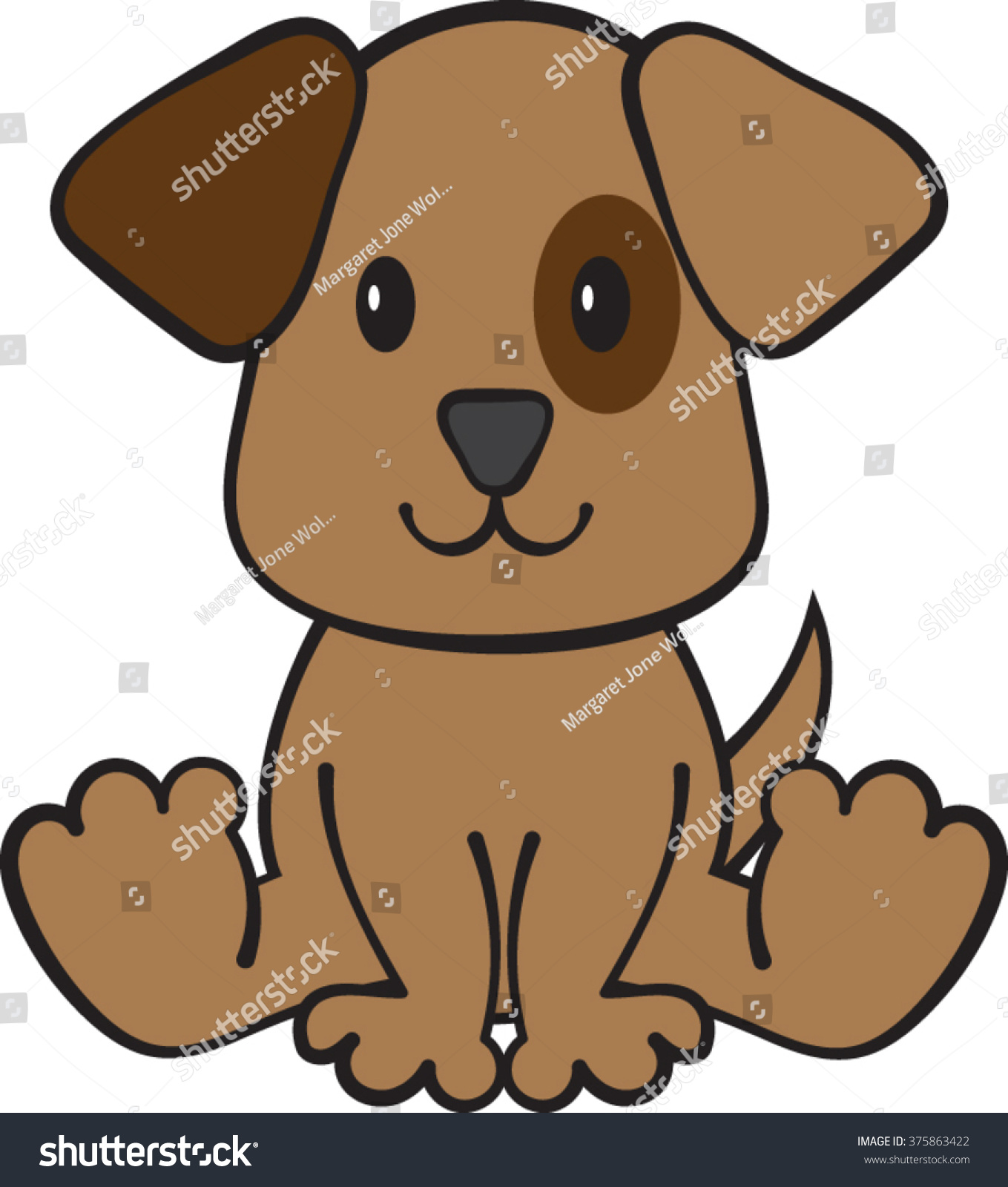 Puppy Dog Clipart Vector Illustration Stock Vector Royalty Free 375863422