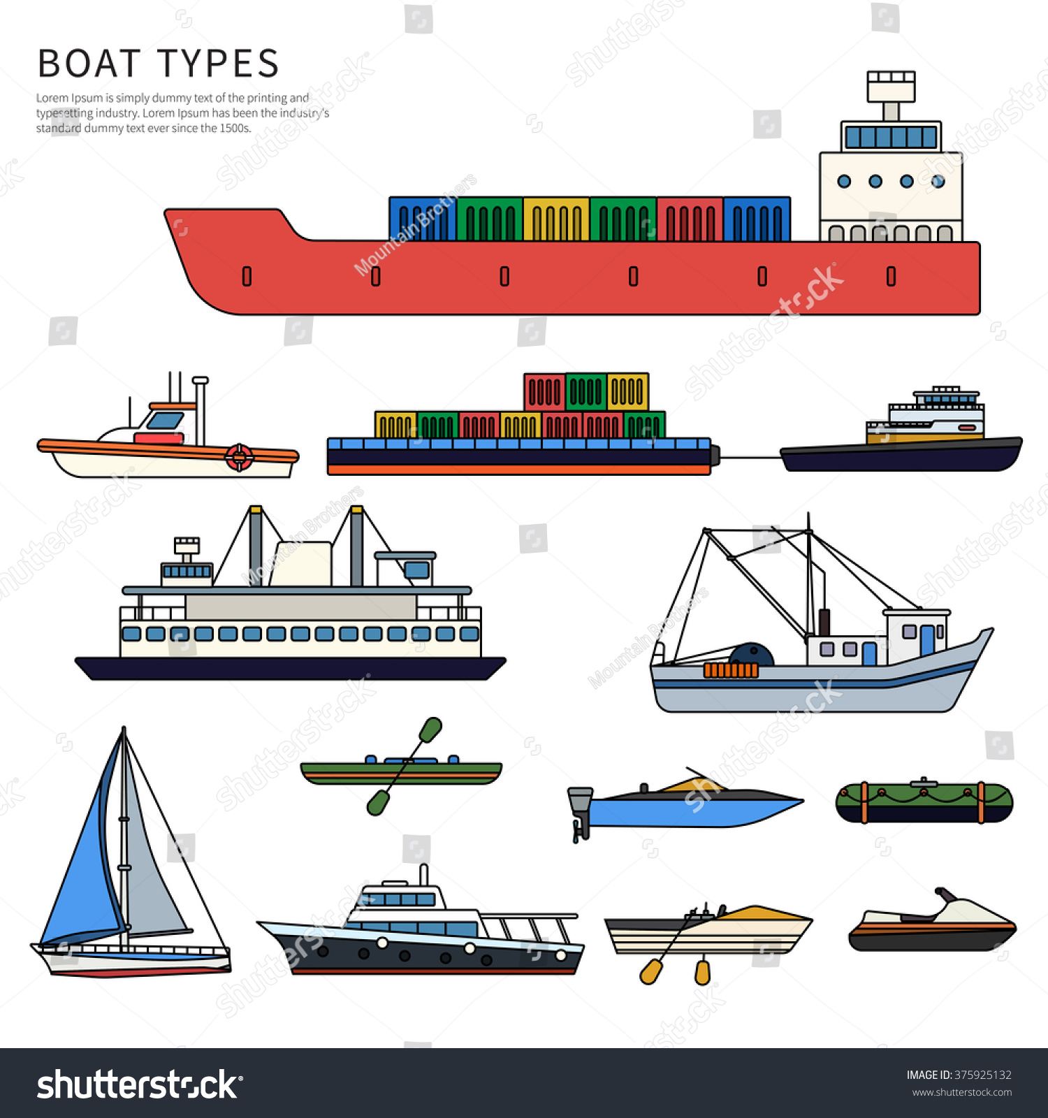 Boats Ships Types Military Boat Powerboats Stock Vector 375925132 ...