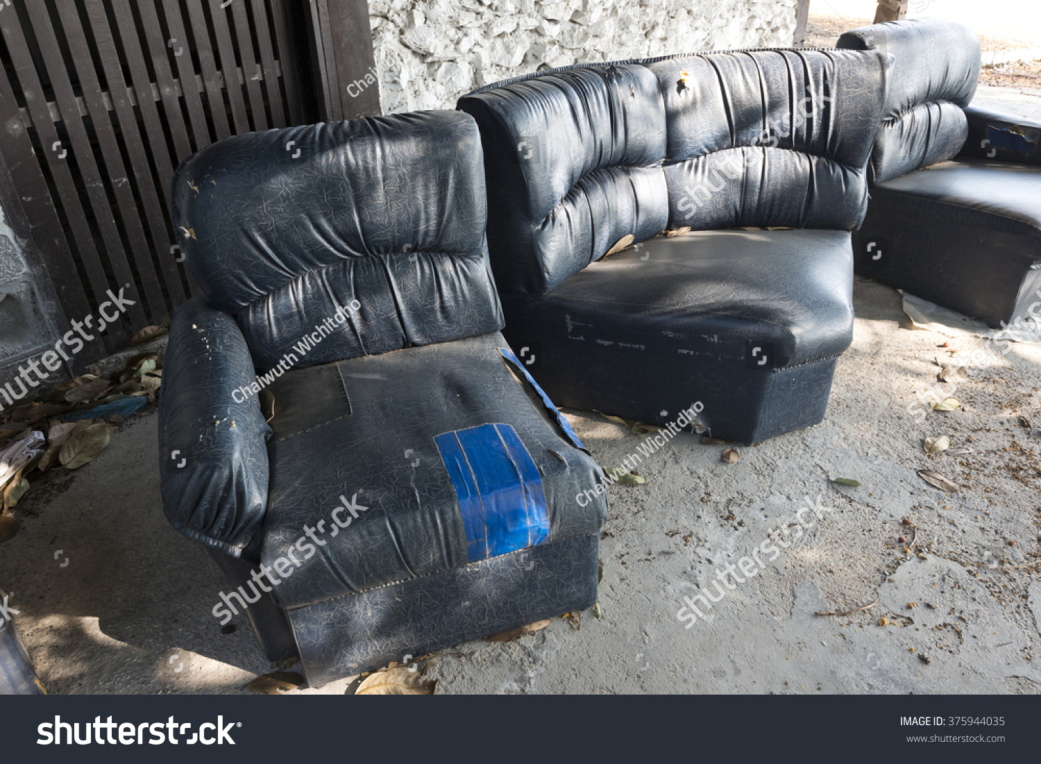 Old Leather Chairs Abandoned In House Broken Sofa