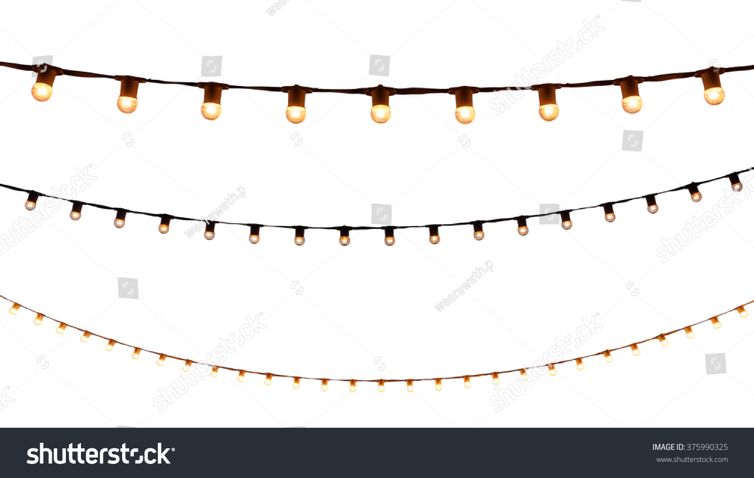 string wired bulbs on white background #375990325