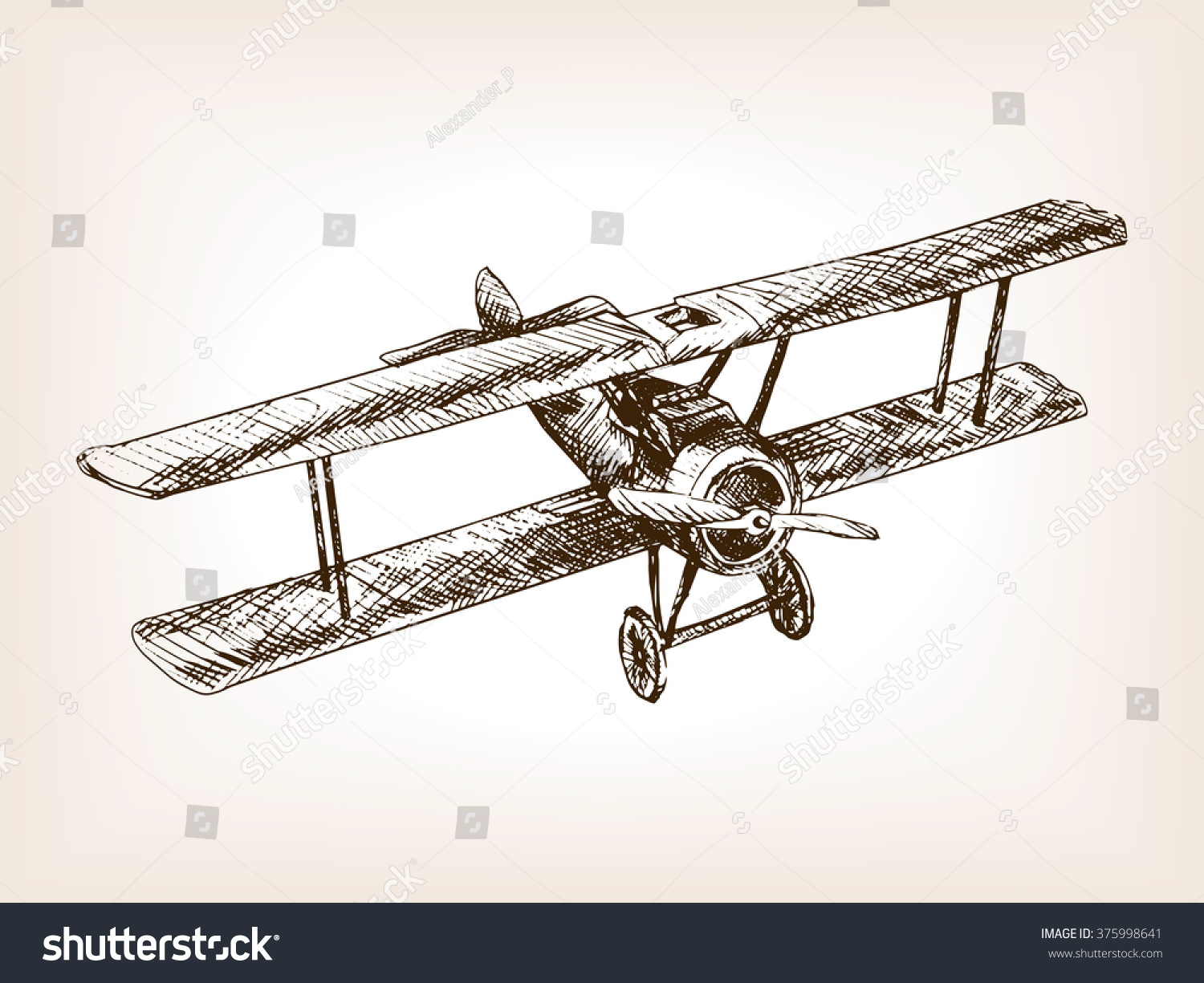 Retro Airplane Sketch Style Vector Illustration Stock Photo Photo