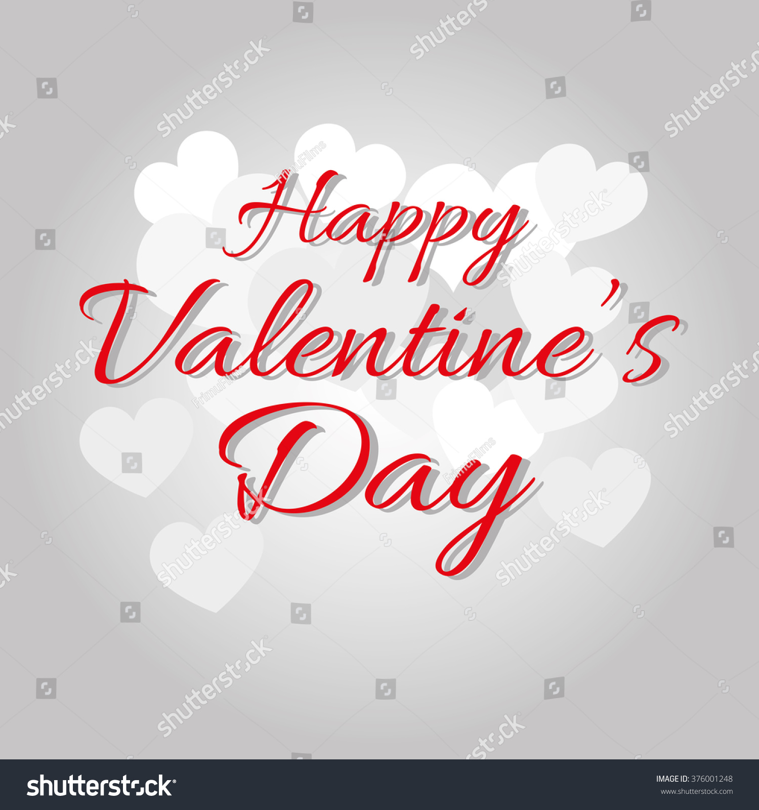 Happy Valentines Day Greeting Card Red Colored Greeting Text On A