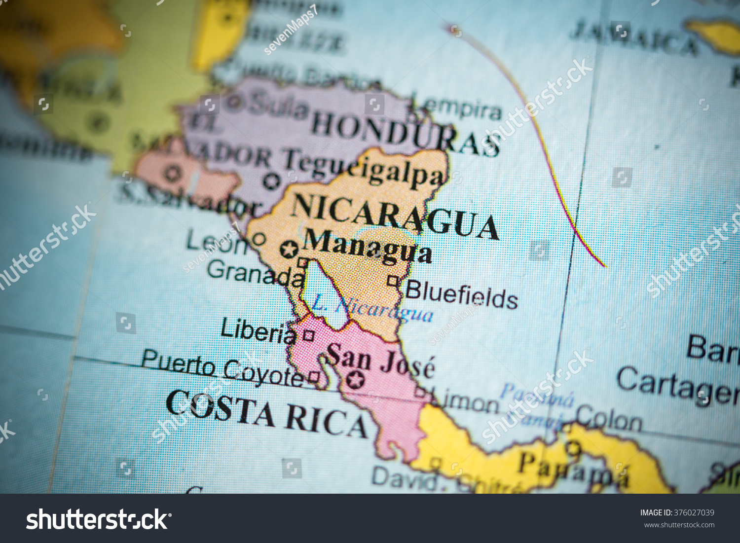 Map View Managua Nicaragua On Geographical Stock Photo (Download Now ...