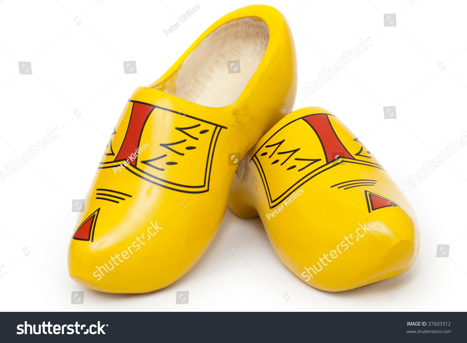pair wooden shoes klompen traditional dutch stock photo 37603312