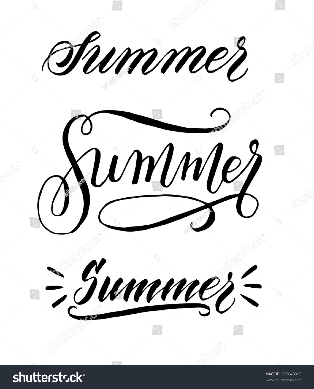 Summer Hand Written Elegant Word Your Stock Vector
