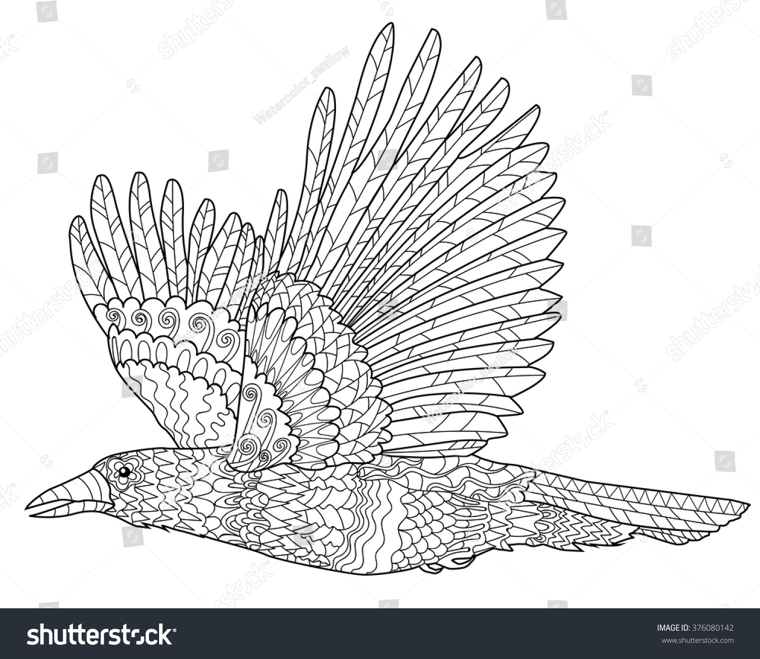 Flying raven high details adult antistress stock vector for Flying crow coloring page