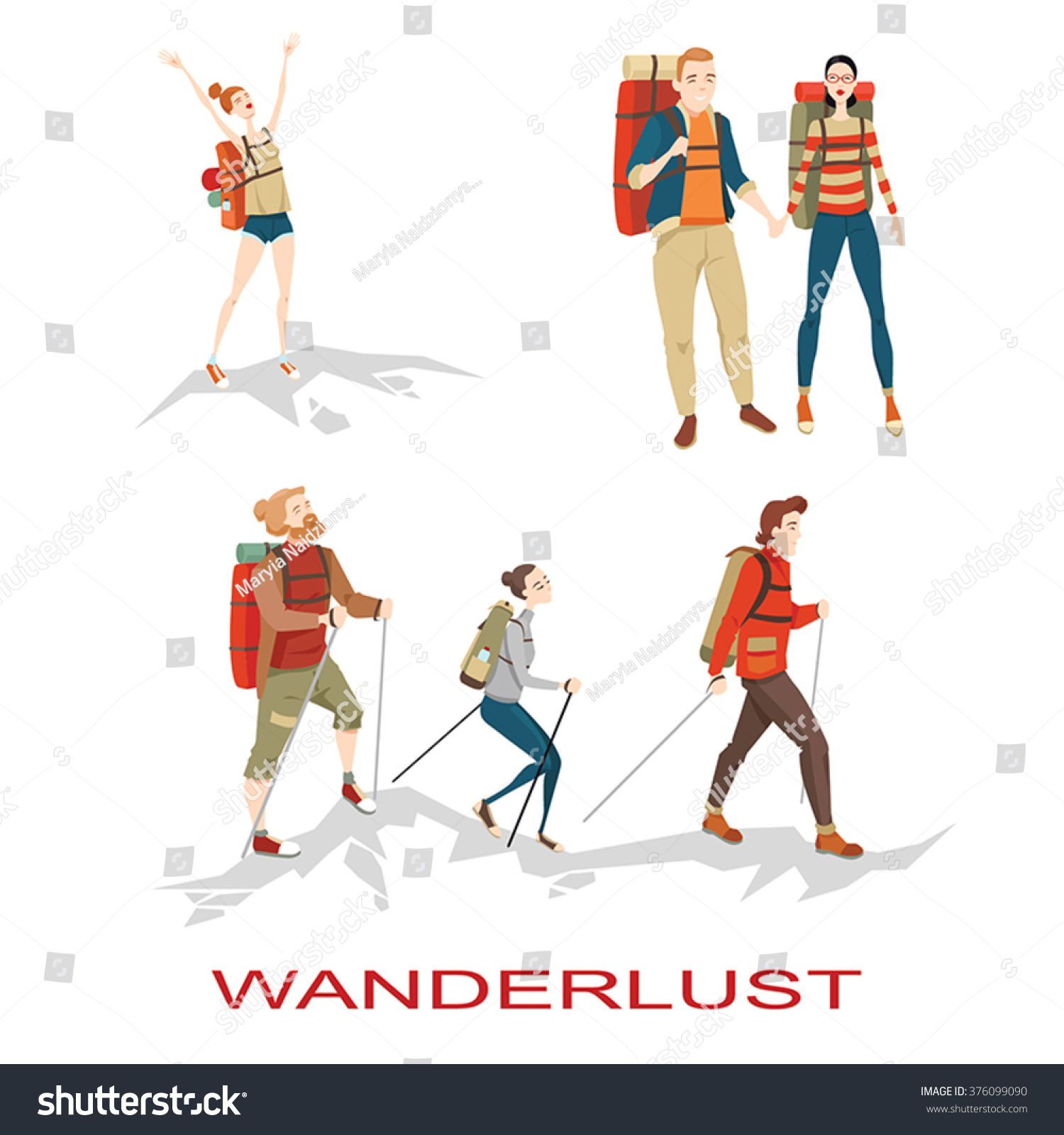 Set of vector illustrations of people hiking in mountains in cartoon style