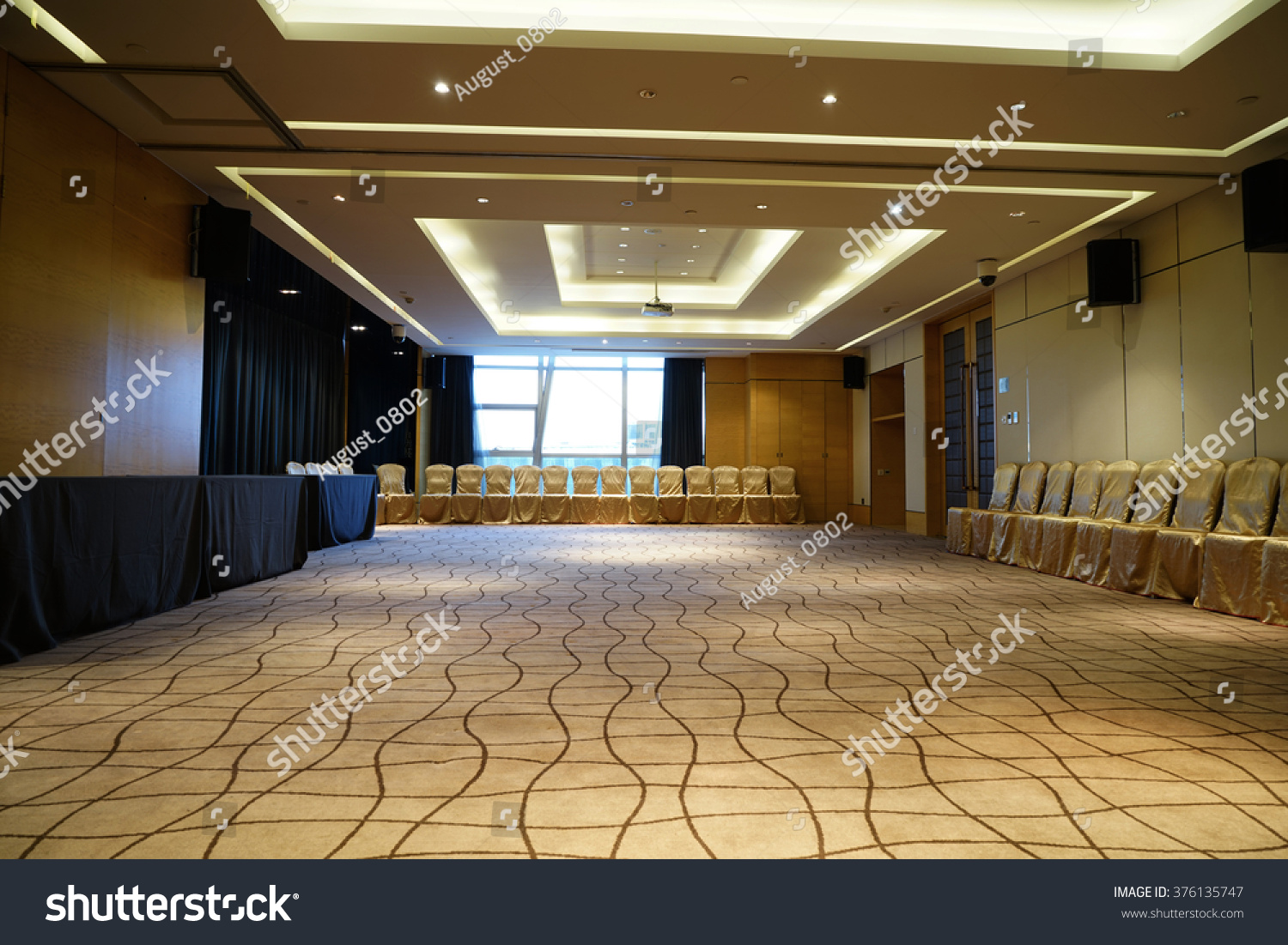 Huge Hall Interior Red Carpet Ceiling Stock