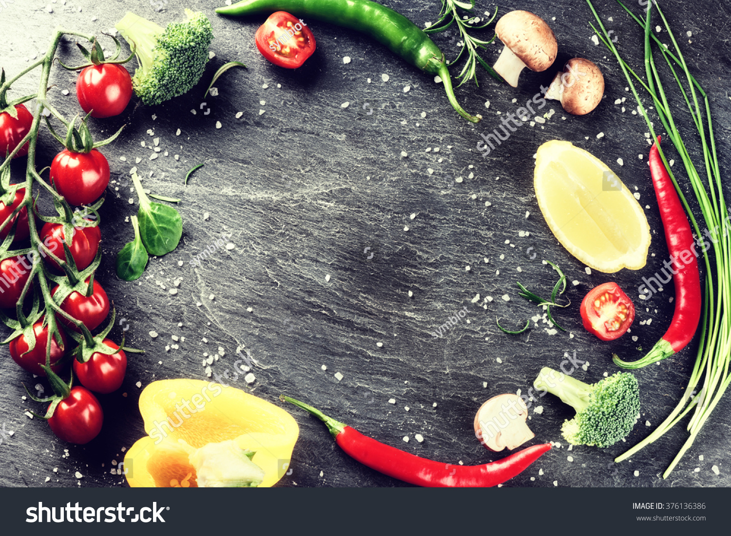 Frame fresh organic vegetables herbs healthy stock photo 376136386 shutterstock - Growing vegetables in a small space concept ...