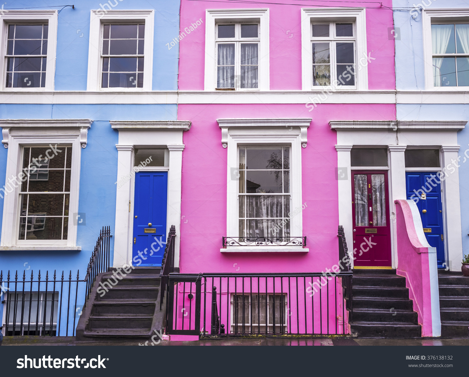 Pink Blue Traditional Colorful Houses Stairs Stock Photo (Edit Now ...