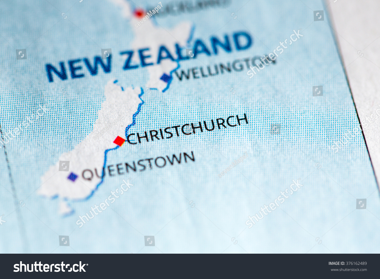 Geographical Map Of New Zealand.Map View Christchurch New Zealand On Stock Photo Edit Now