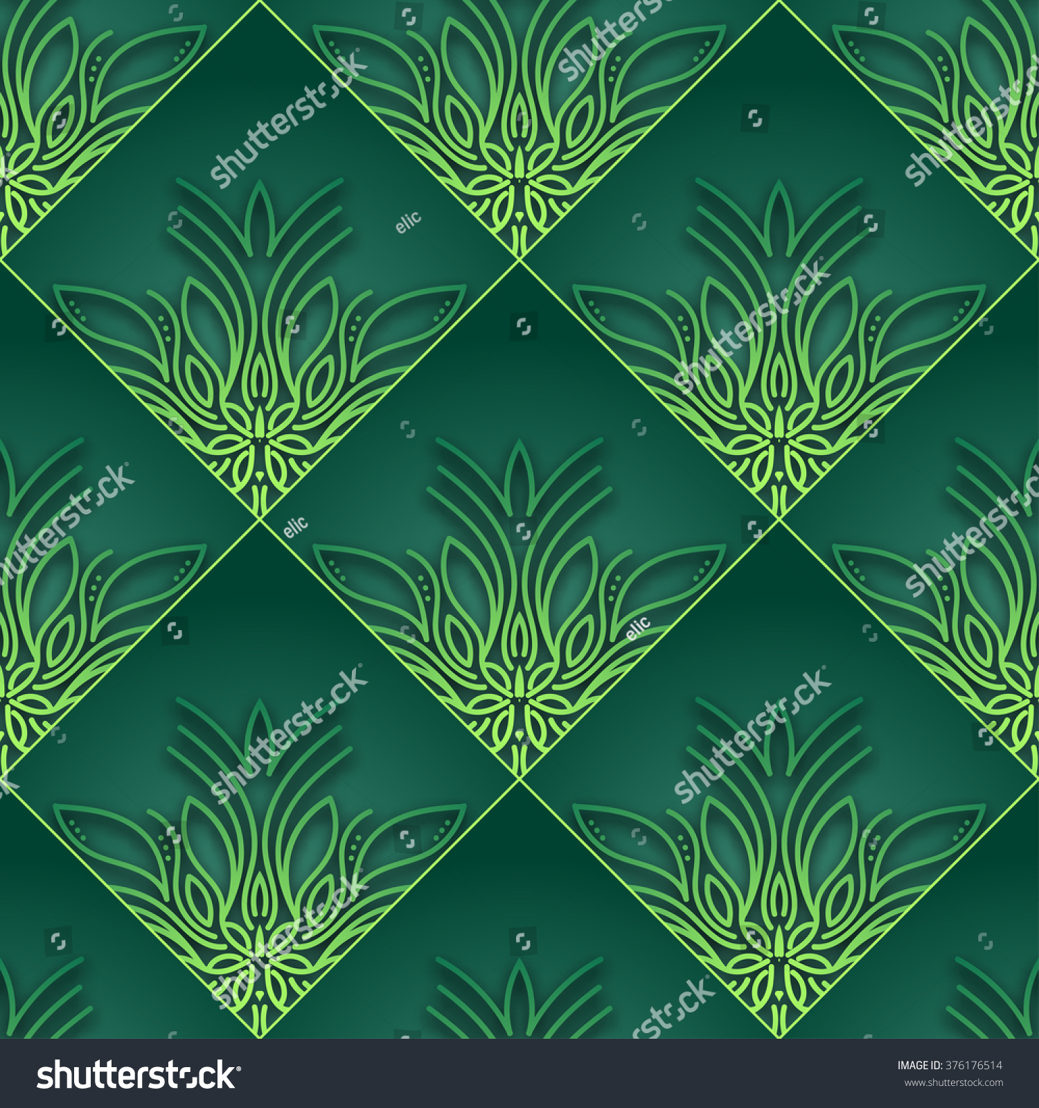 Green Vintage Seamless Wallpaper Vector Square 376176514