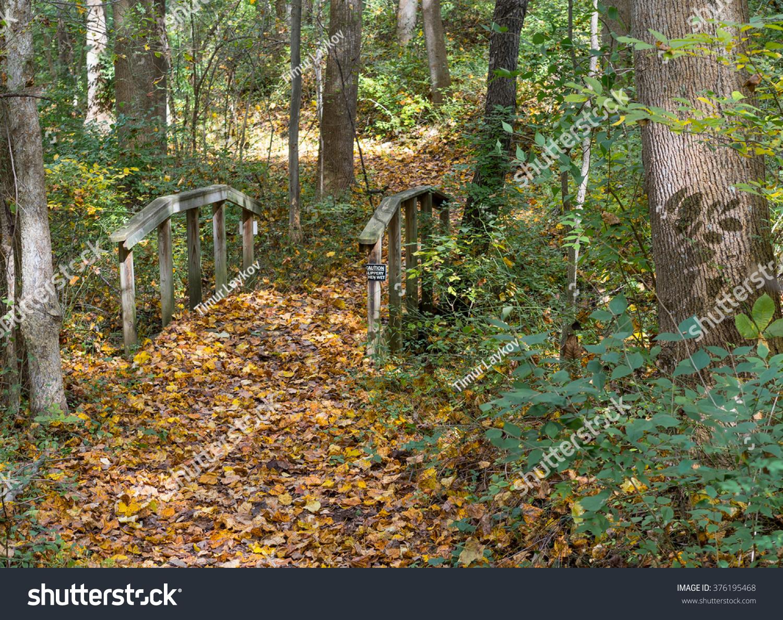 Beautiful Autumn Bridge Meadowlark Botanical Gardens Stock Photo ...