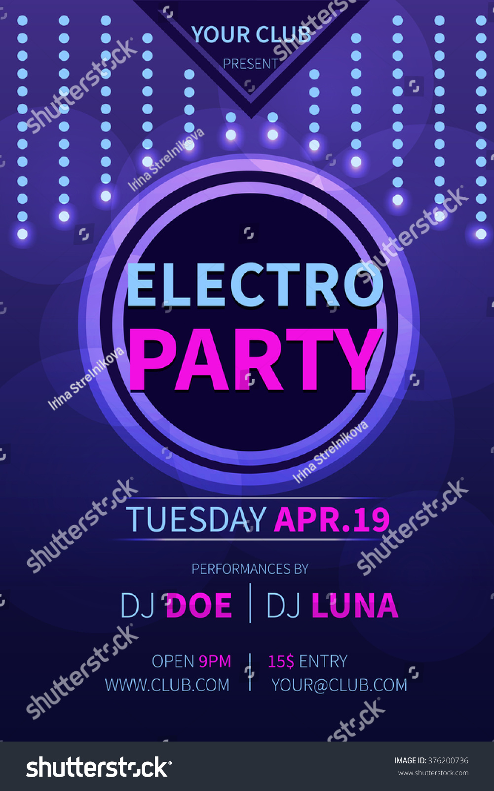 Vector Electro Party Flyer Template Abstract Stock Vector Royalty