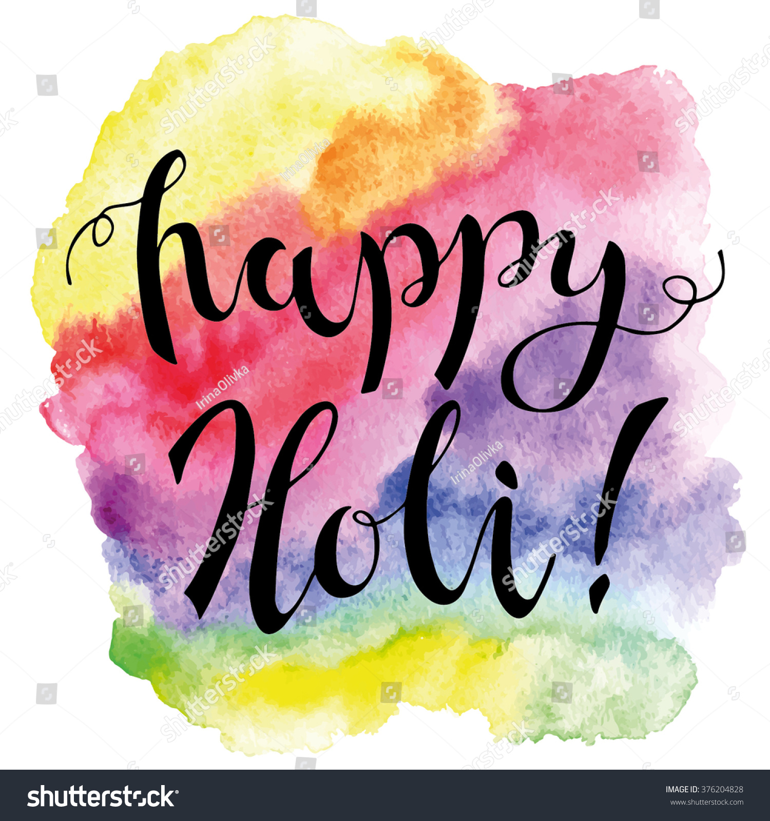 Happy holi calligraphy on colorful watercolor stock vector