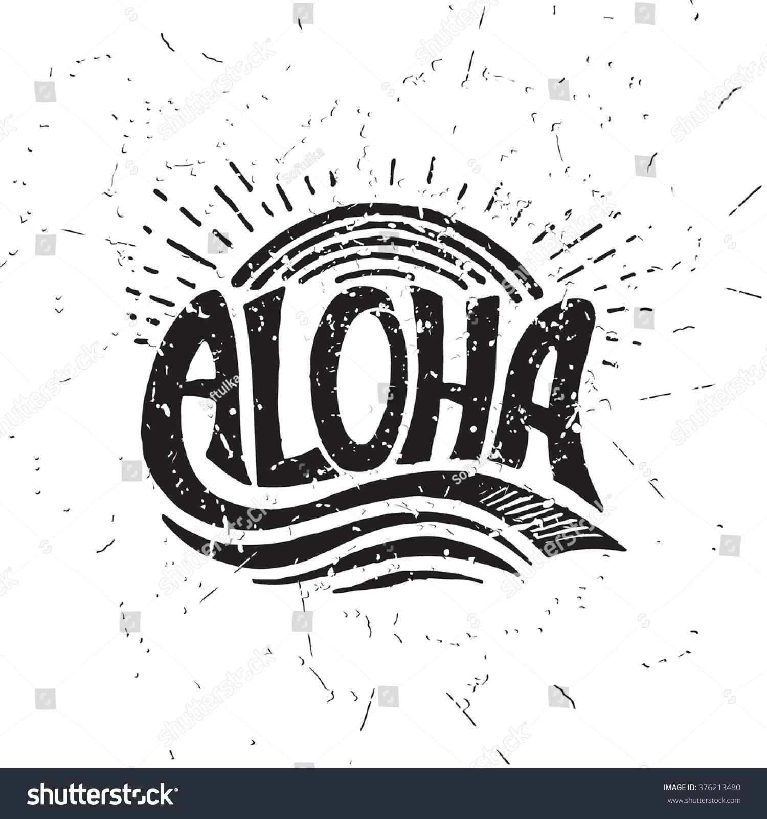 T-shirt design handmade - Aloha Surfing Lettering Vector Calligraphy Illustration Hawaiian Handmade Tropical Exotic T Shirt Graphics