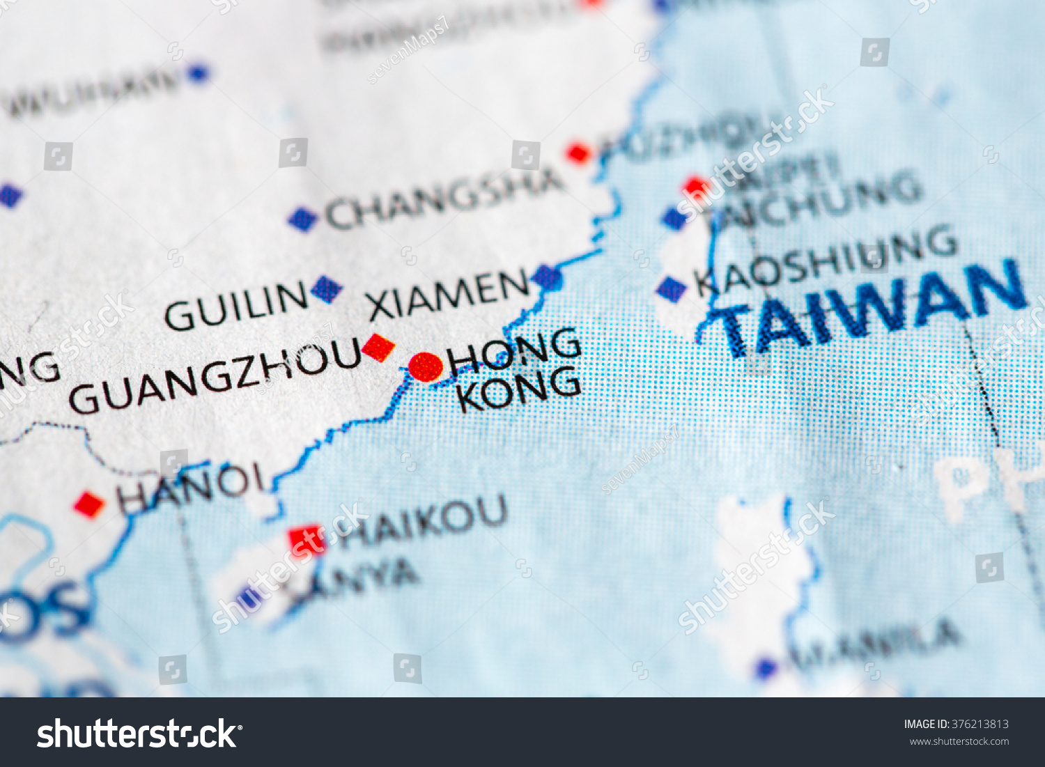 Map Of Asia Hong Kong.Map View Hong Kong On Geographical Stock Photo Edit Now 376213813