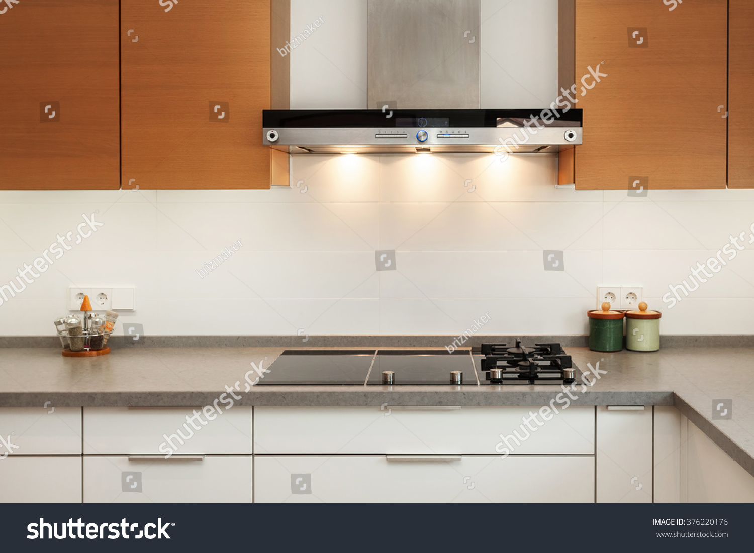 New Modern Kitchen Closeup Exhaust Hood Ceramic Cooking Plate Stock Photo 376220176