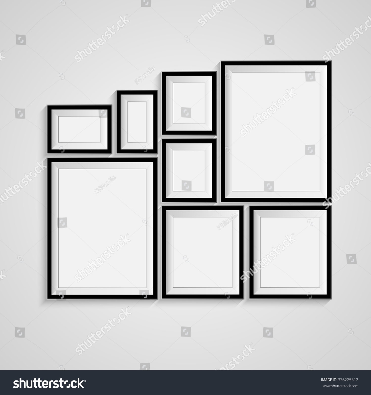 Many Black Blank Picture Frame Template Stock Vector (Royalty Free ...