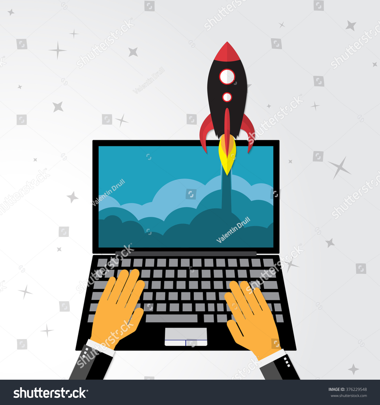 Business Concept Project Startup Rocket Launch Stock Illustration