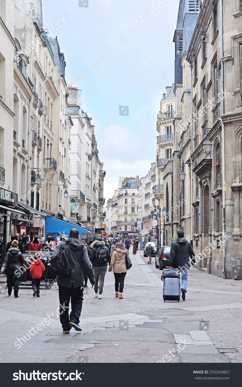 Paris France February 9 2016 view of a street in a center of Paris France