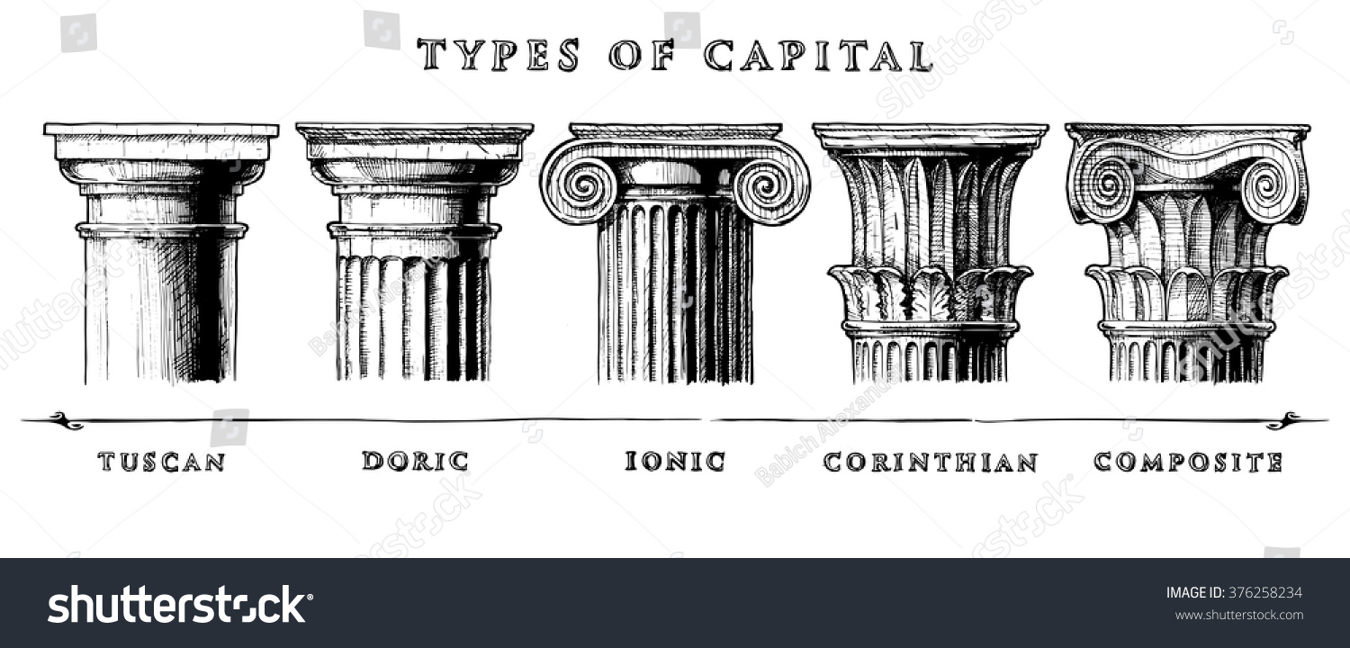 Types Of Roman Columns : Types capital vector hand drawn illustration stock