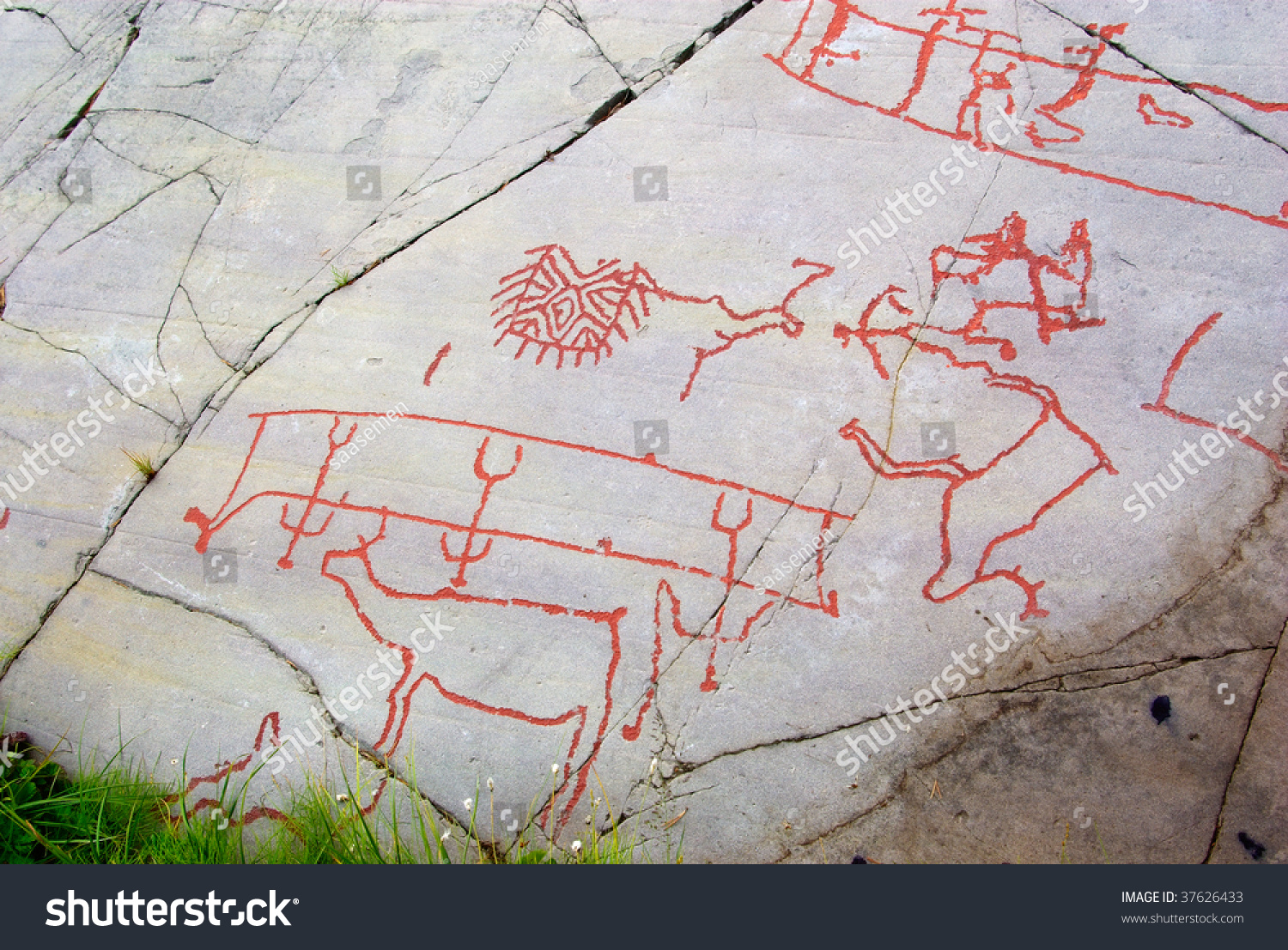 Ancient rock carving alta norway stock photo