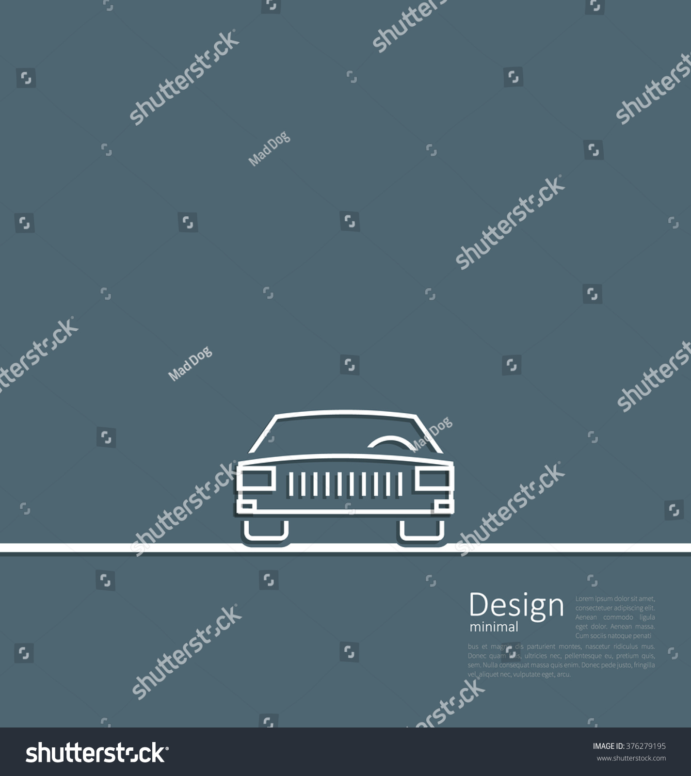 Illustration Logo Car Front Side Minimal Stock Mad Dog Wiring Diagram Of In Flat Composition Lines Style