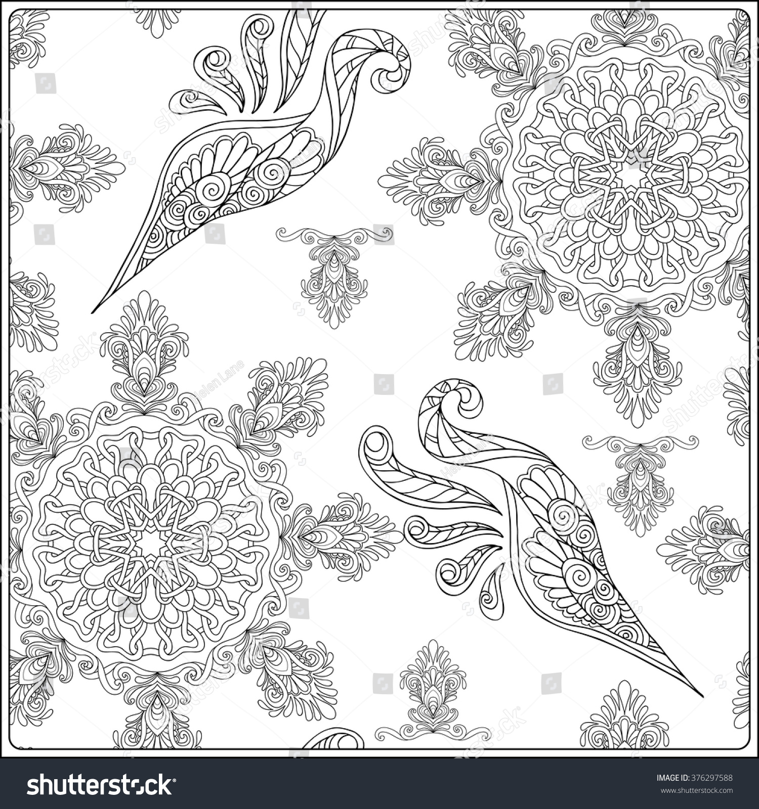 Coloring pages for relaxation - Paisley And Mandala Pattern In Frame Square Coloring Page Relaxation Coloring Book For Adult