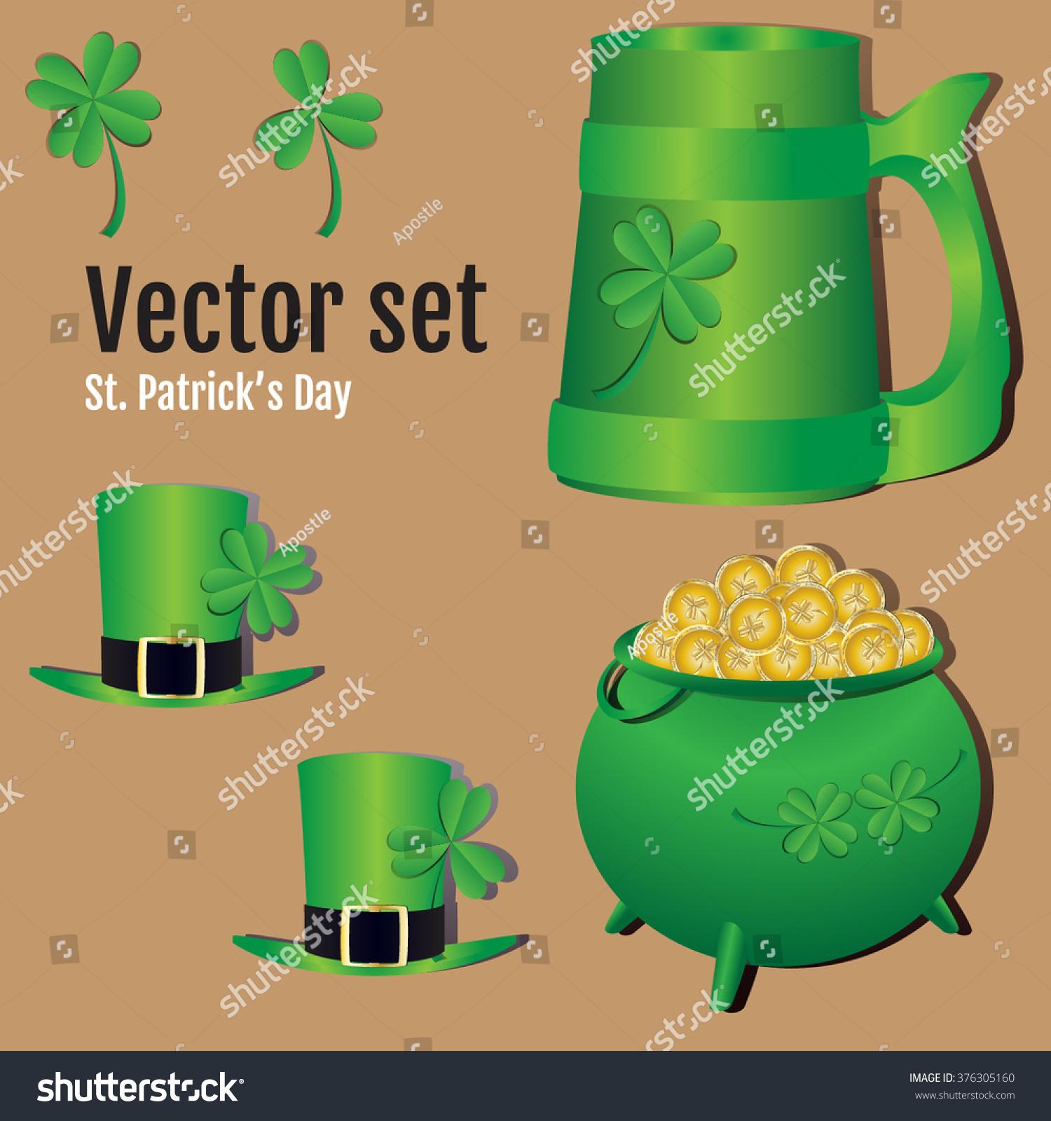 set st patricks day symbols vector stock vector 376305160