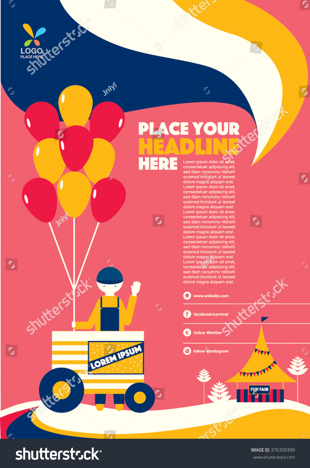 Carnival Theme Magazine Layout Template Design Stock Vector (Royalty ...
