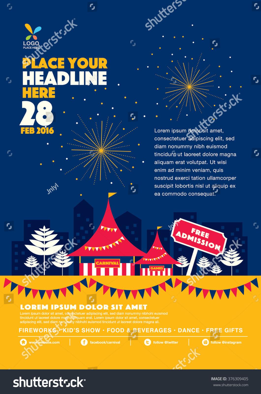 Elements of a poster design - Carnival Theme Template Design Invitation Amusement Park Elements Info Graphic Poster Design Fun Fair