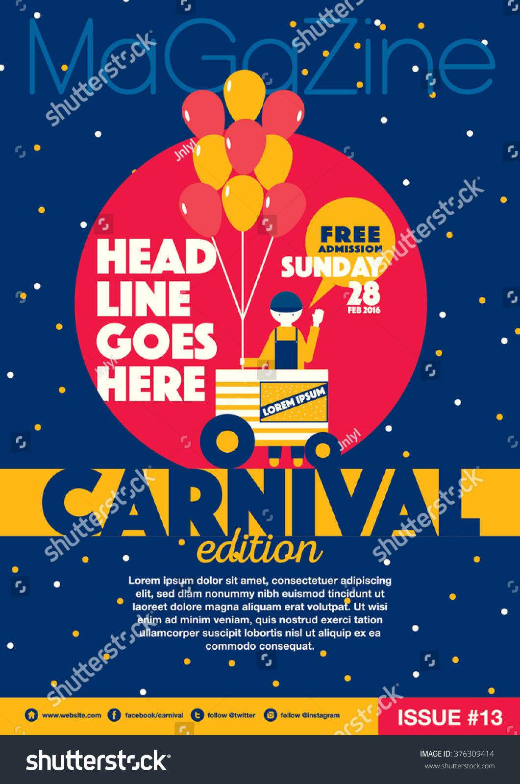 carnival theme magazine template design invitation stock