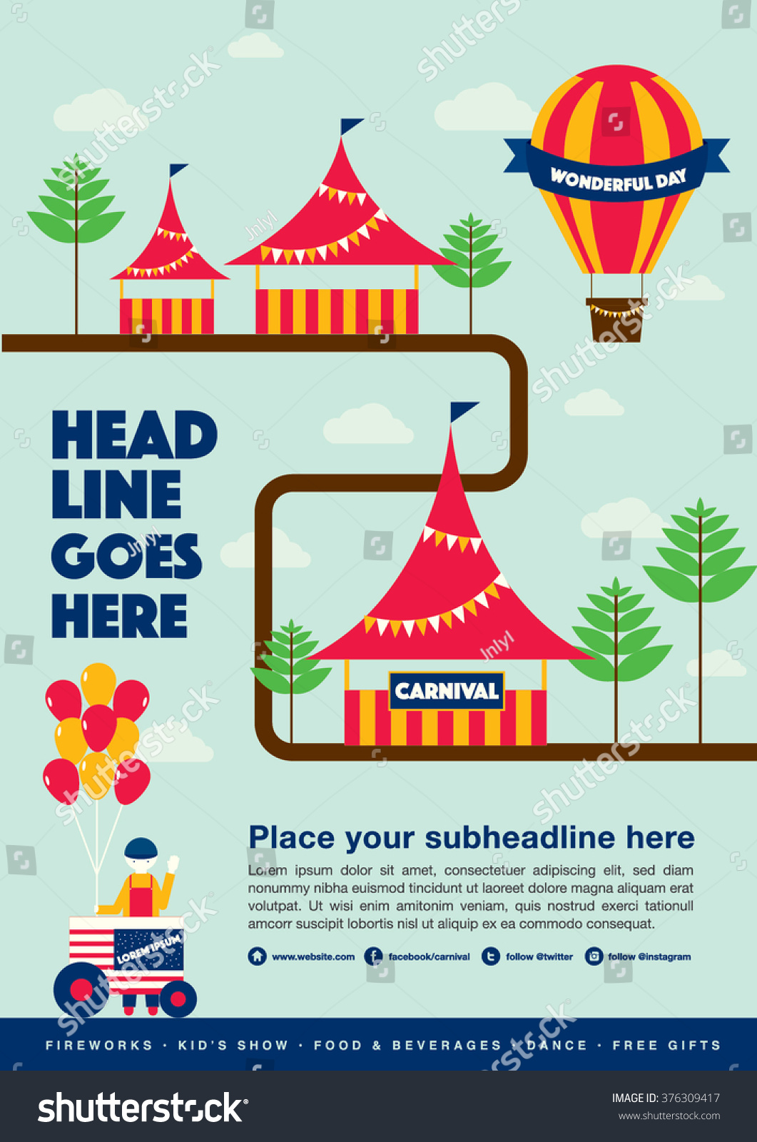 Poster design elements - Carnival Theme Template Design Invitation Amusement Park Elements Info Graphic Poster Design Fun Fair