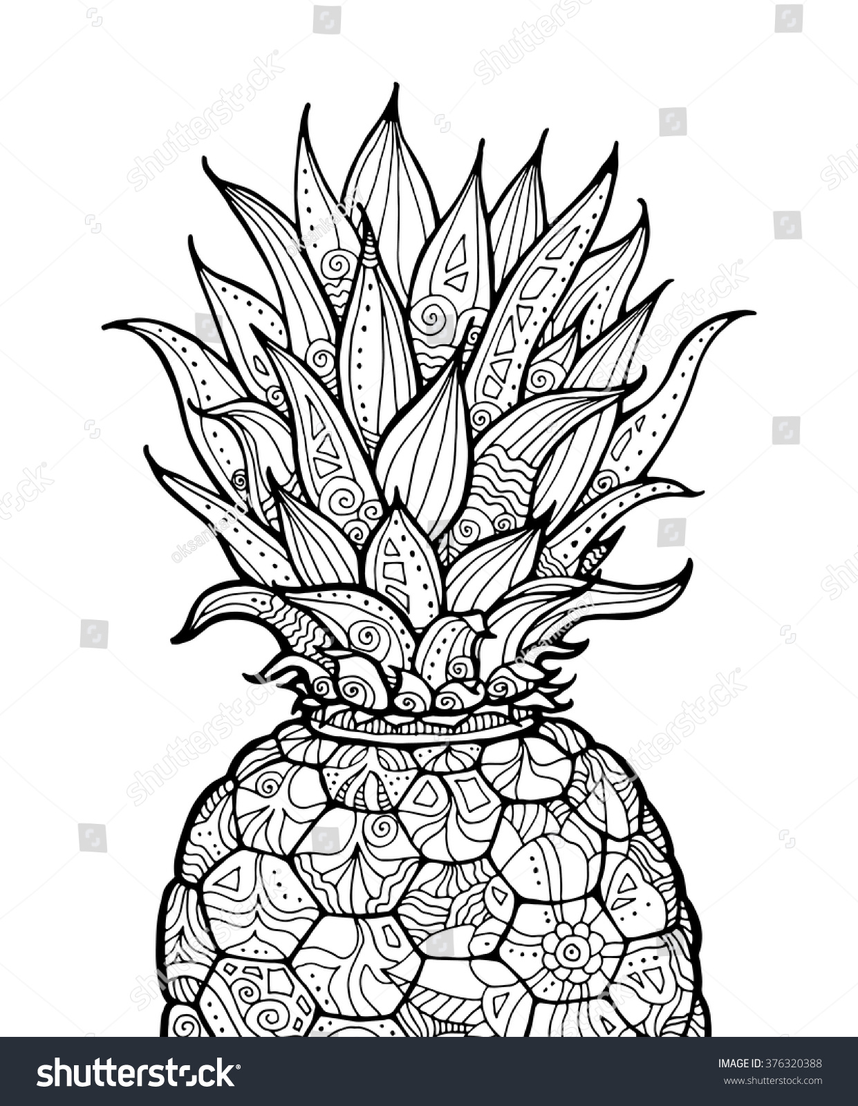 Ananas pineapple exotic fruit floral pattern stock vector for Fruit coloring pages for adults