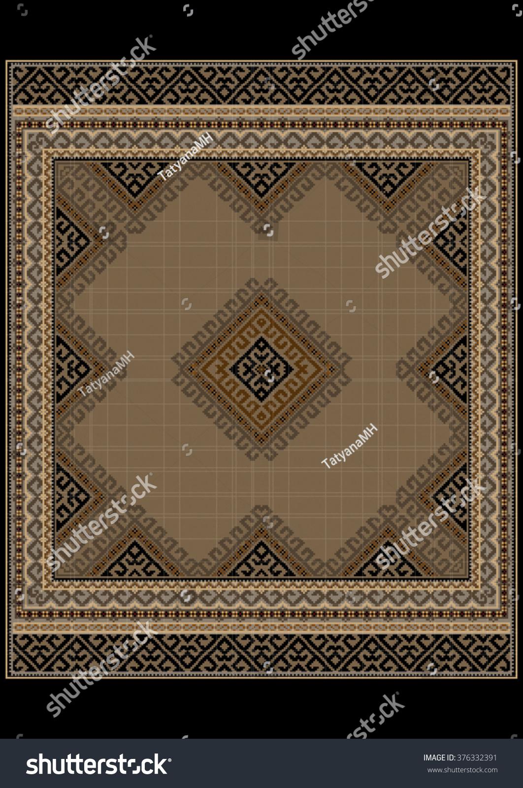 Luxurious Vintage Oriental Rug Ethnic Pattern Stock Vector